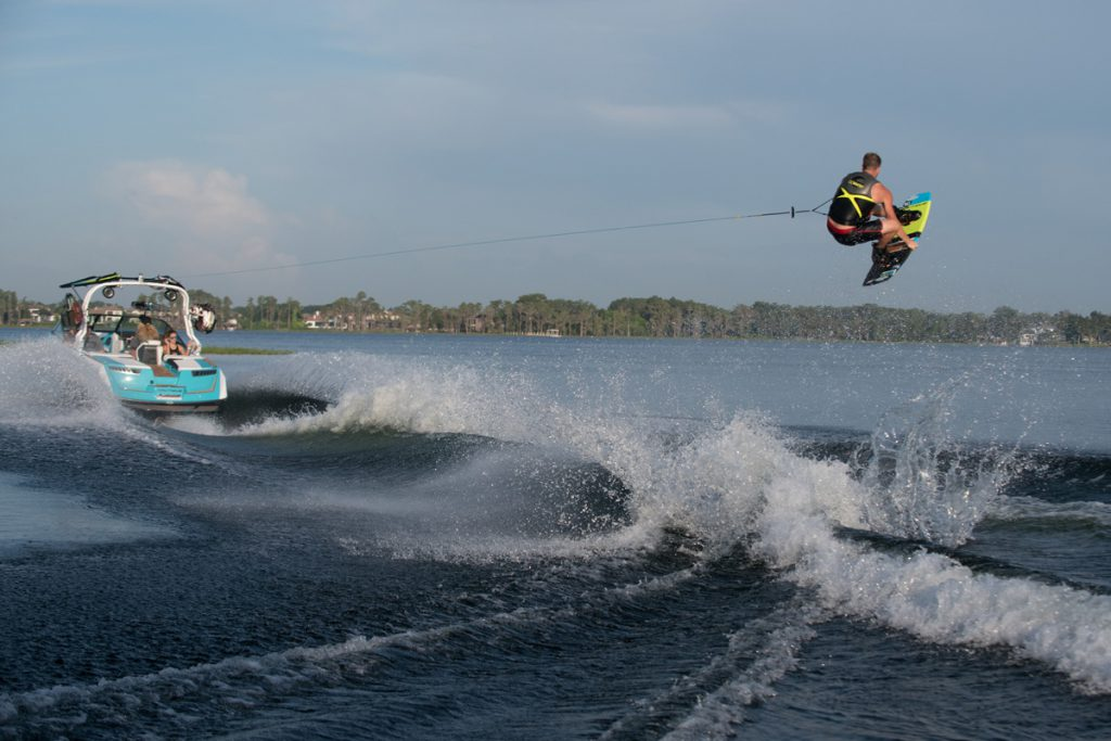 A properly weighted boat for wakeboarding.