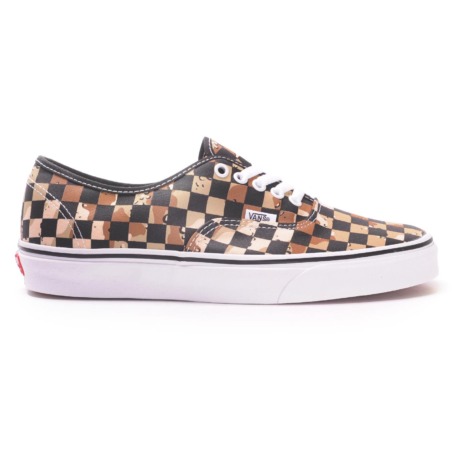 Vans Authentic (Checkerboard Camo DesertTrue White) Men's Skate Shoes