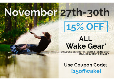 15% off Wakeboarding Gear
